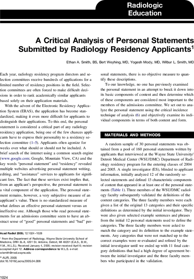 radiology application essay The interview dates for the 2019 appointment year radiology-interventional   updated cv nrmp universal fellowship application essay copies of your.